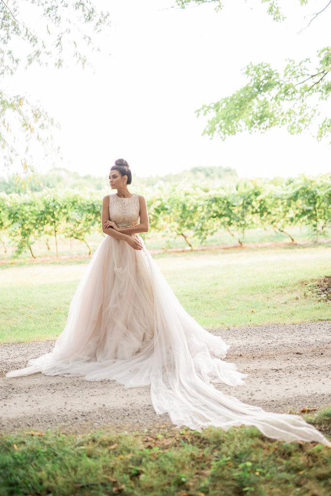 Catherine Langlois, fairy tale wedding dress in blush and rose. LoveBlooms Collection, Rose.