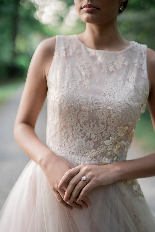 Catherine Langlois, unique blush rose wedding dress with floral applique.