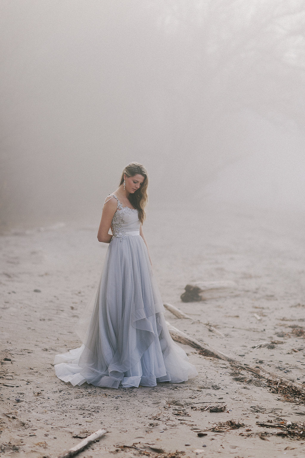 Whimsical blue grey tulle wedding dress by Catherine Langlois