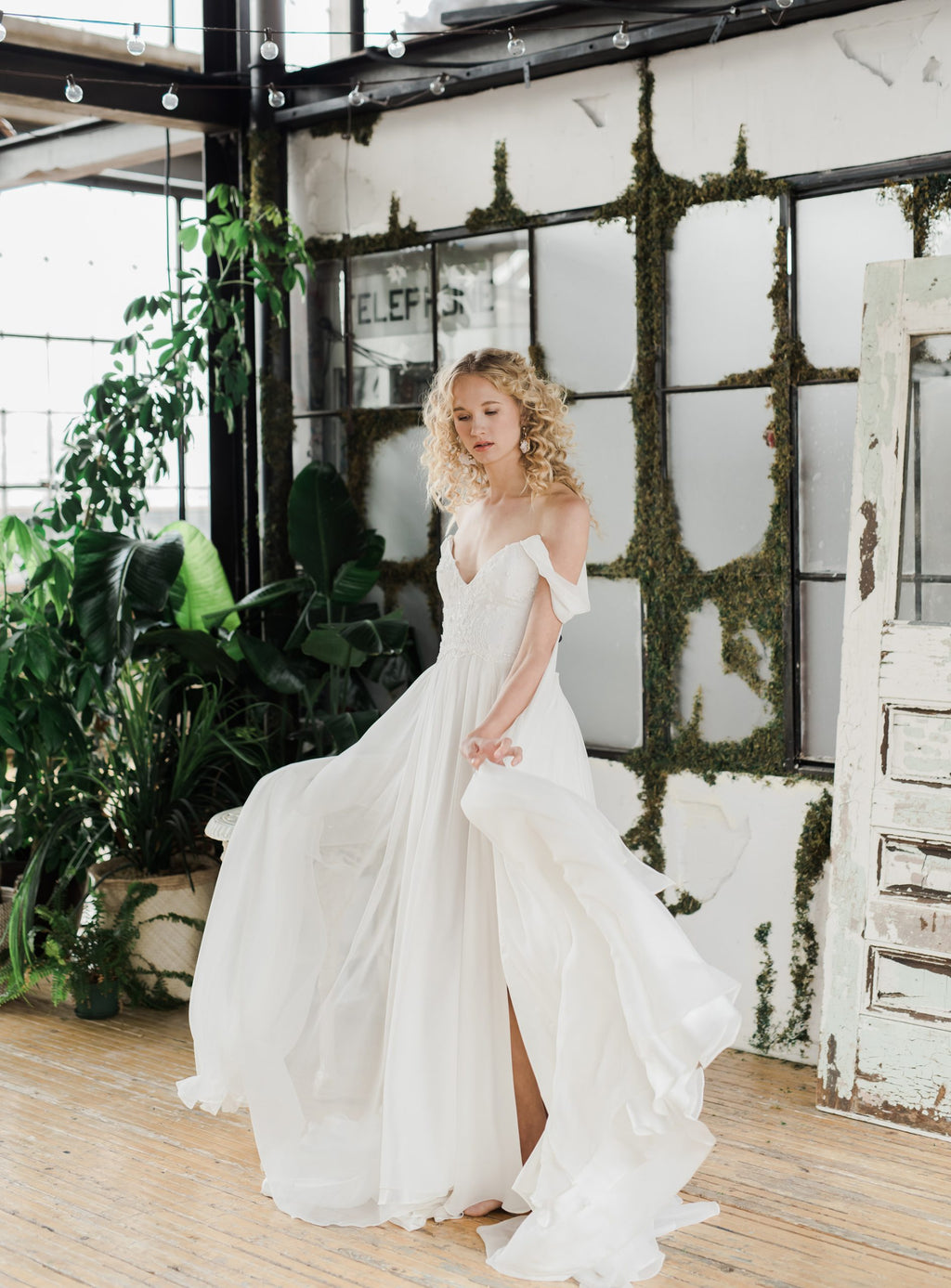 Celeste, wildly romantic off the shoulder chiffon wedding dress by Catherine Langlois. Photo Whitney Heard.