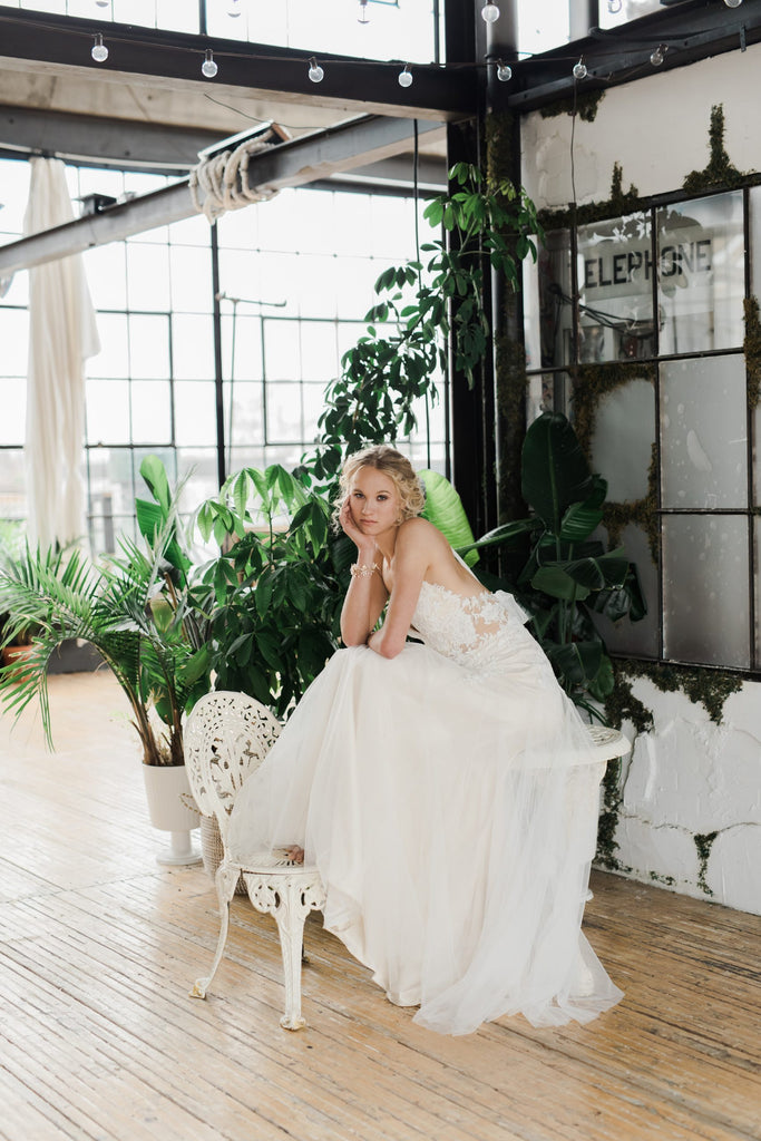 Rhys, an ethereal tulle and lace wedding dress by Catherine Langlois. Designed to order in Toronto, Ontario, Canada.