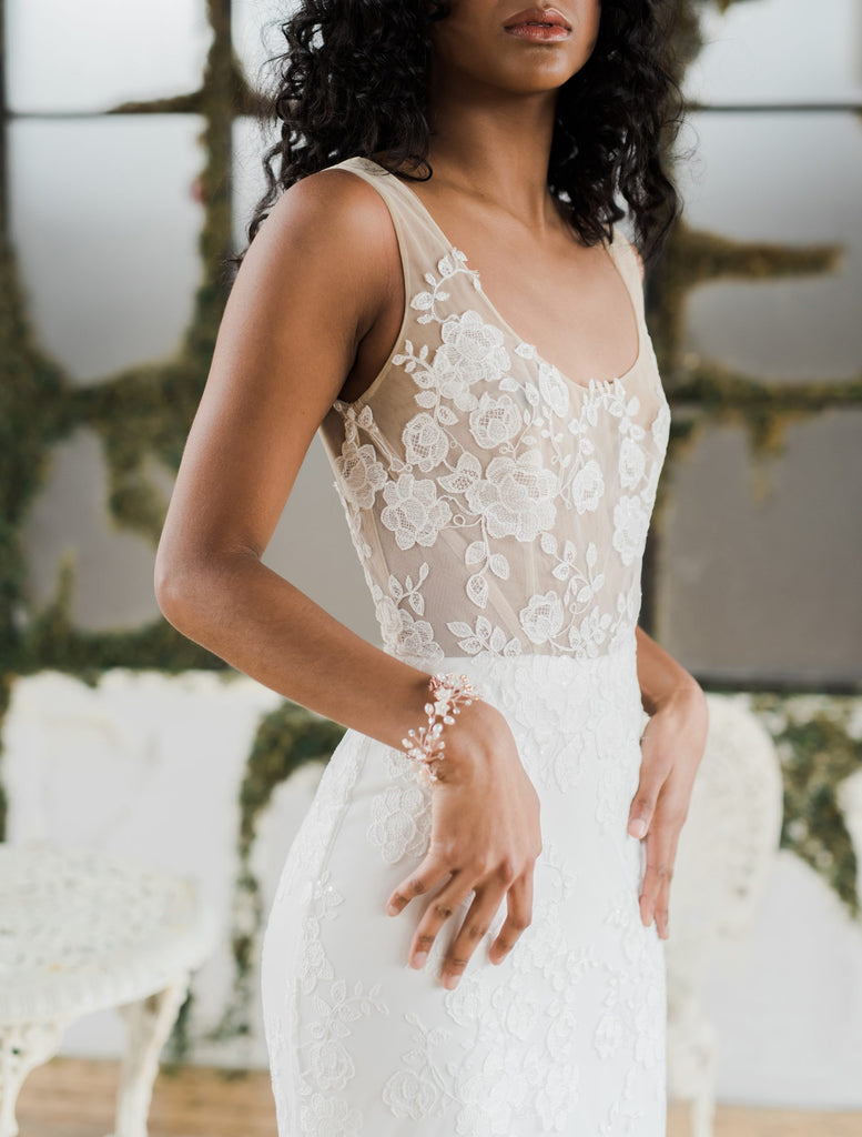 Marina, a modern shimmery floral lace wedding dress. Handmade in Toronto by Catherine Langlois Bridal Design.