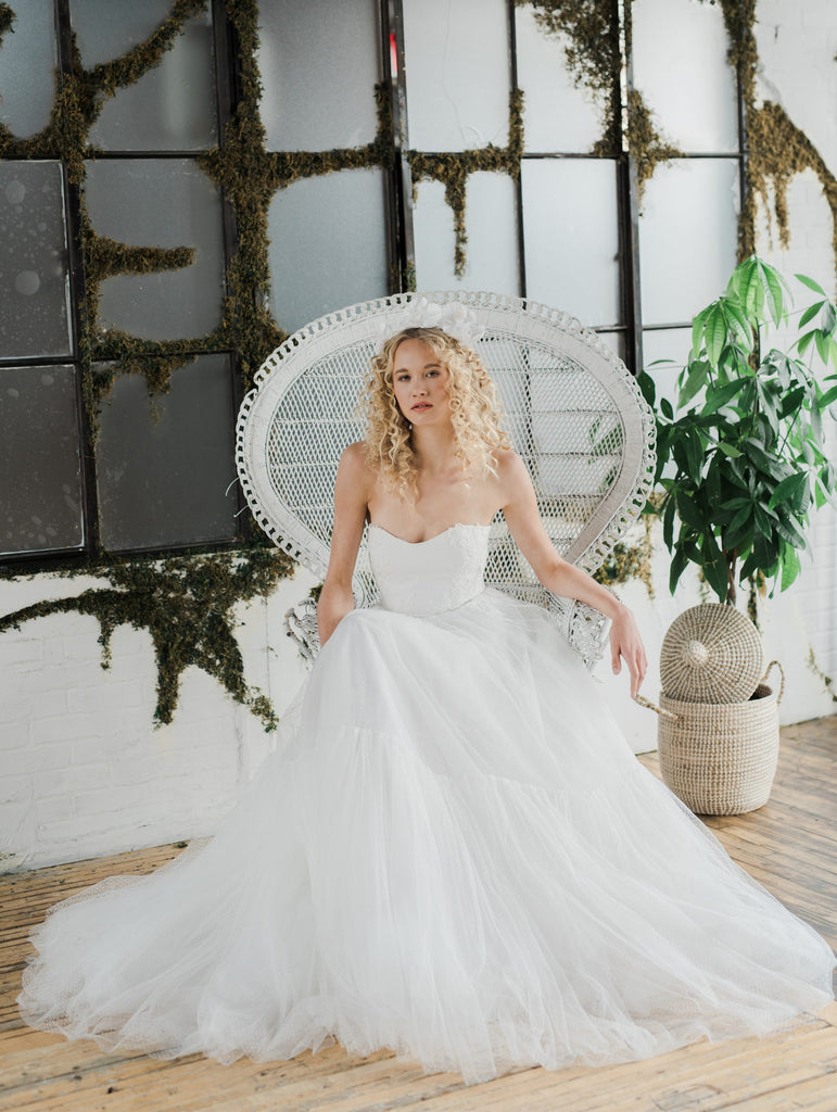 Meadow, a pretty Swiss dot tulle wedding dress. Designed and made by Catherine Langlois in Toronto, Ontario, Canada.