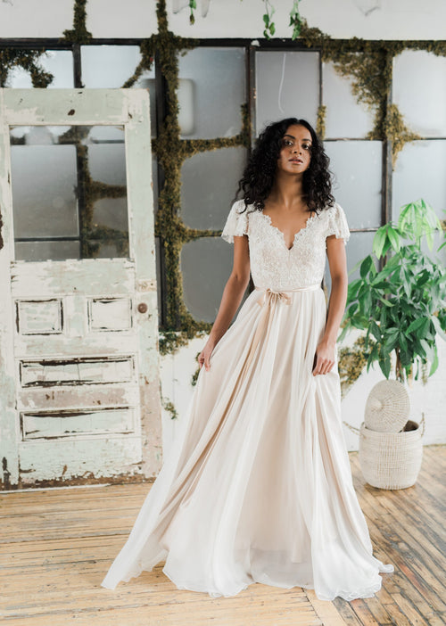 Solange, a dreamy and delicate rose chiffon wedding dress. Custom designed by Catherine Langlois in Toronto, Ontario, Canada.