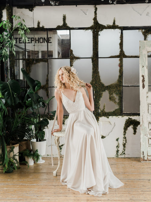 Soleil, a romantic champagne silk wedding dress by Catherine Langlois. Designed in Toronto, Ontario, Canada.