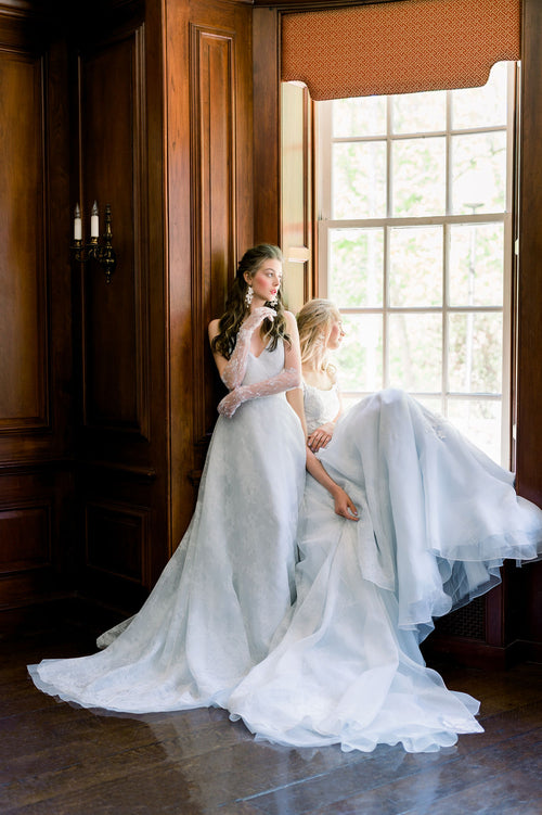 Pretty pastel blue wedding dress in silk organza. Custom made to order by Catherine Langlois, Toronto, Ontario, Canada.
