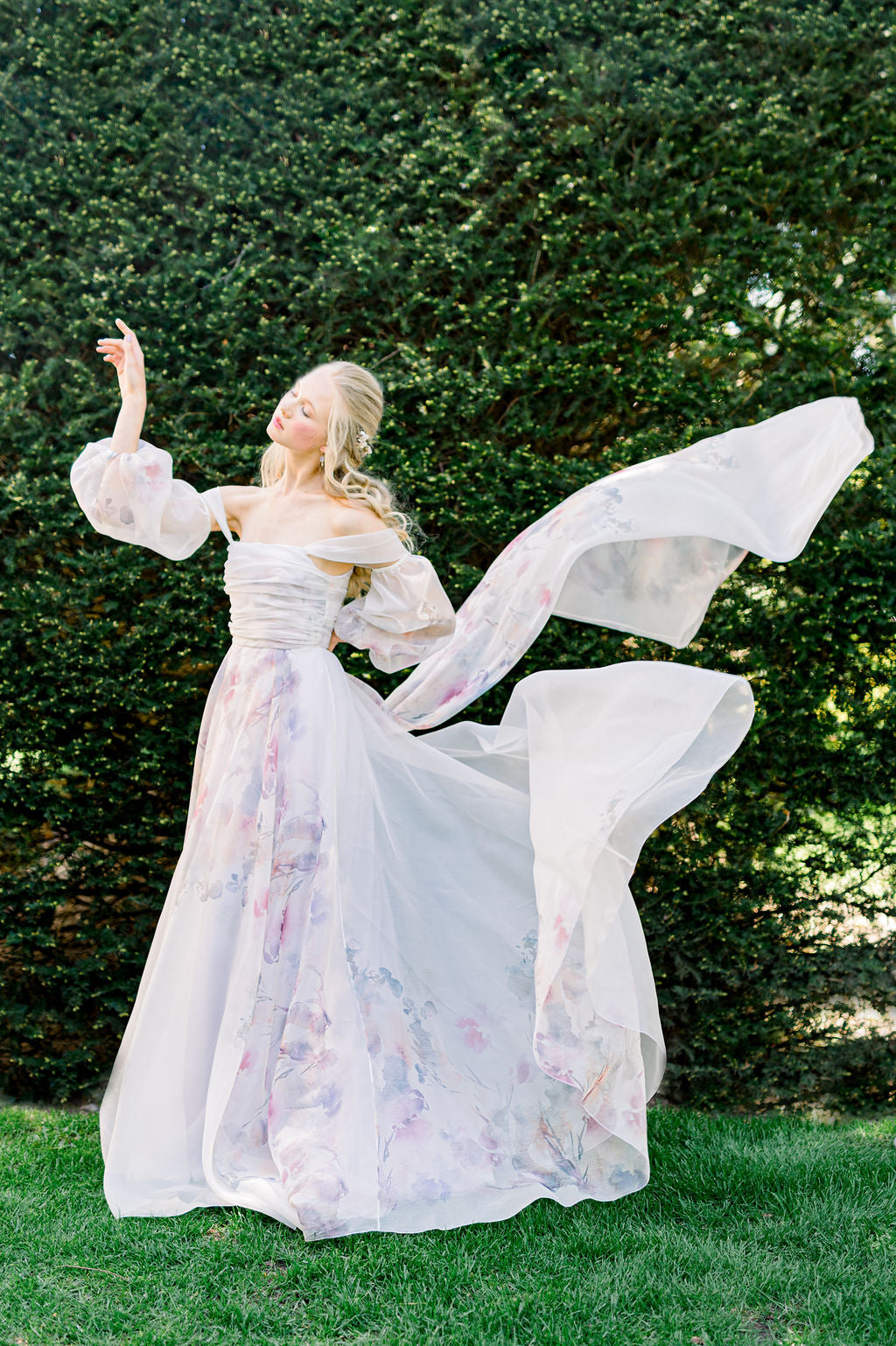 Wildly romantic watercolor wedding dress in organza by Catherine Langlois. Made to order in Toronto, Ontario, Canada.