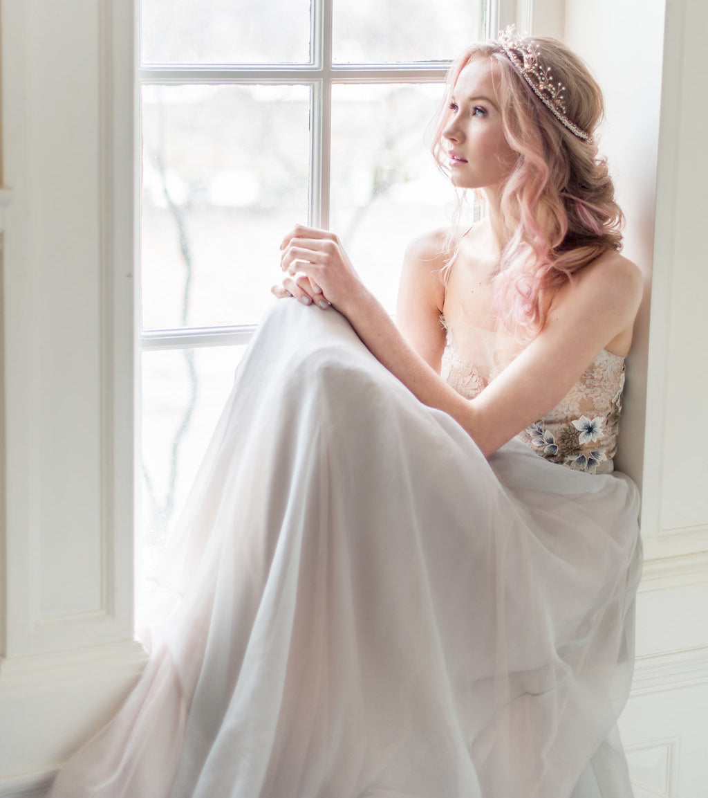 Aurora, a faerie queen wedding dress in grey and blush. Hand made  to order by Catherine Langlois in Toronto, Ontario, Canada.