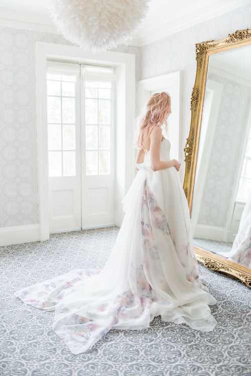 Delphine, a garden inspired pastel wedding dress in printed organza. Designed and handmade by Catherine Langlois in Toronto, Ontario, Canada.