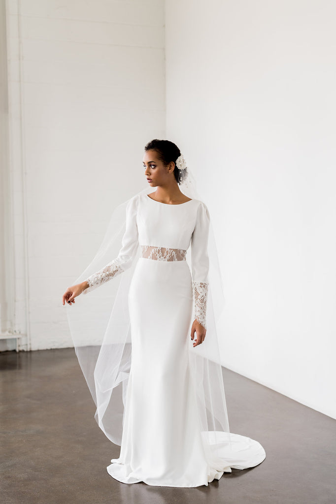 Nikki, modest yet modern simple crepe wedding dress. designed by Catherine Langlois Bridal Design. Toronto, Ontario. Canada.