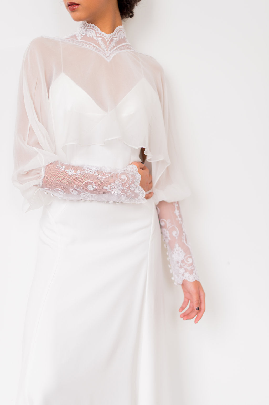 Chiffon and vintage lace wedding dress topper by Catherine Langlois. Photo by Whitney Heard.