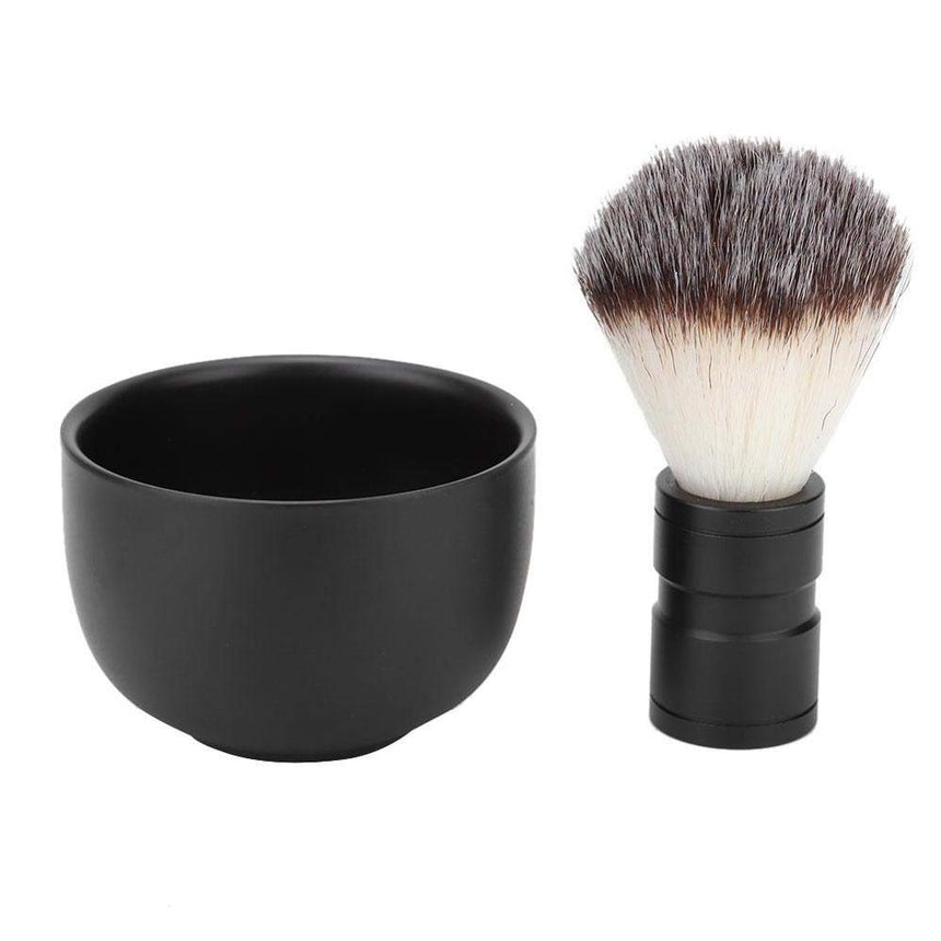 Aluminum Shaving Bowl & Vegan Brush Set, Black