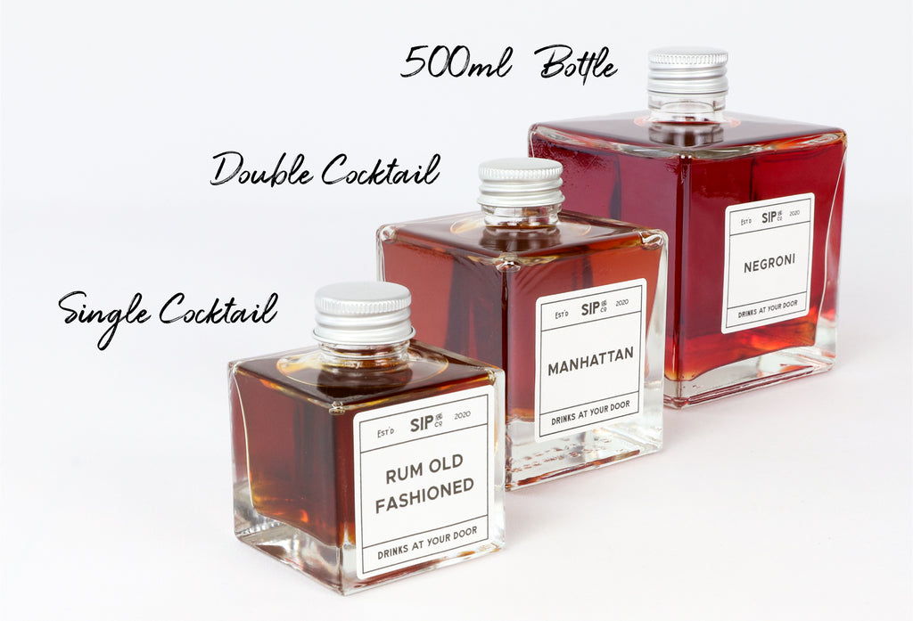3 pre batched cocktail sizes