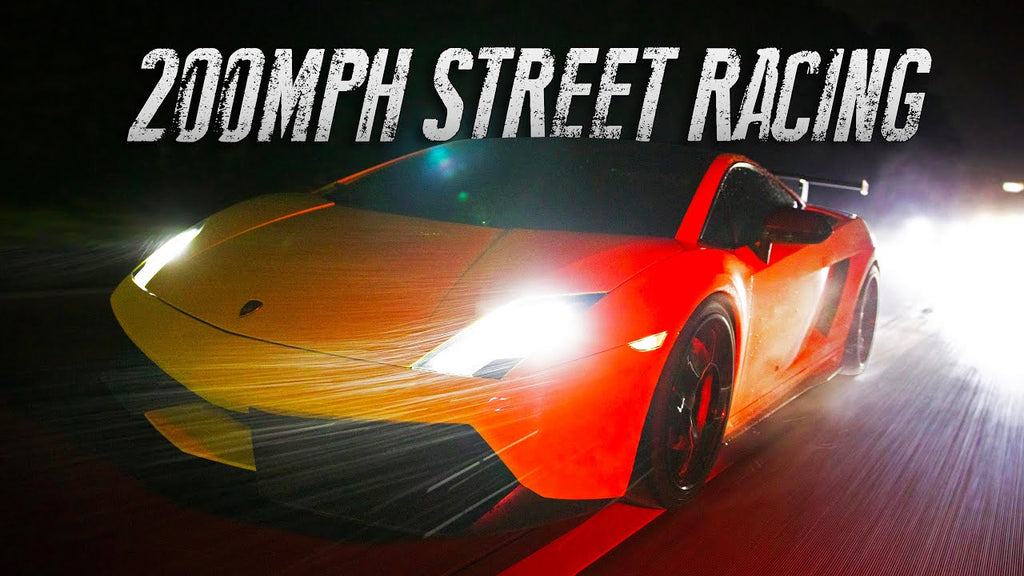 Twin Turbo Lambo hits 200mph street racing!