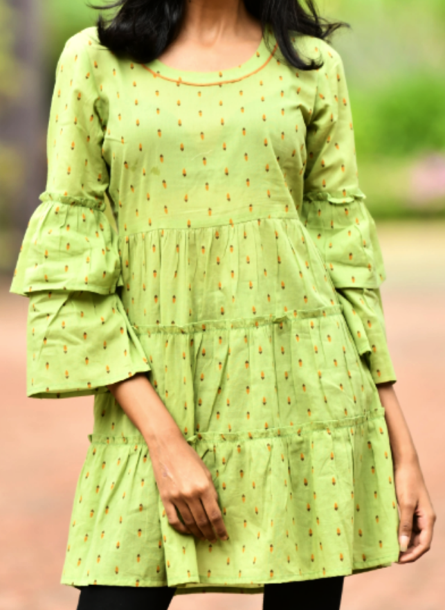 Olive Green Double frill bell sleeve Dress