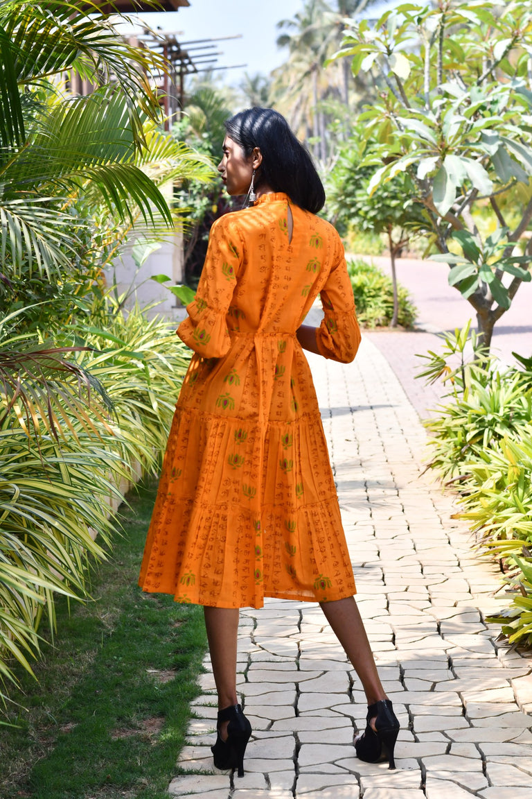 Orange Cambric Print Dress