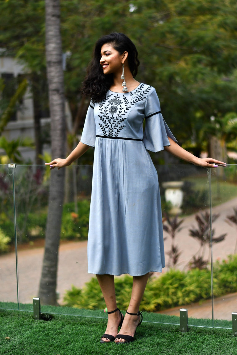 Grey Color Embroidery Dress