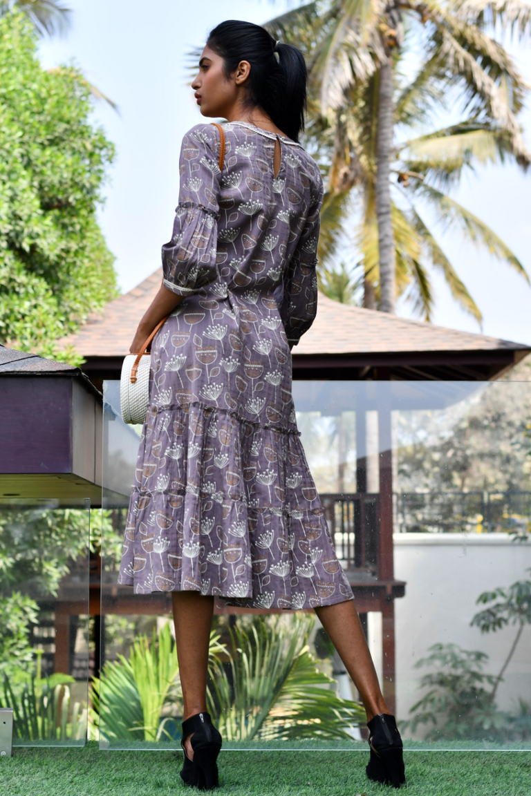 Dark Lavender Multi Pattern Dress