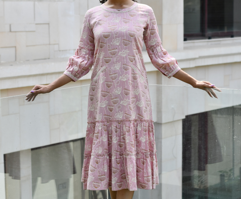 Light Pink MULTI PATTERN DRESS