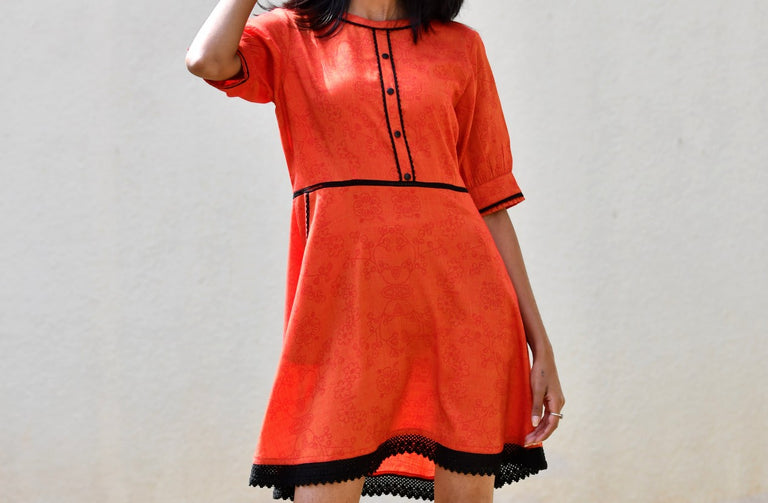 Rust Color Handloom Rayon Dress