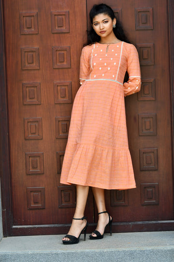 Peach cotton dress