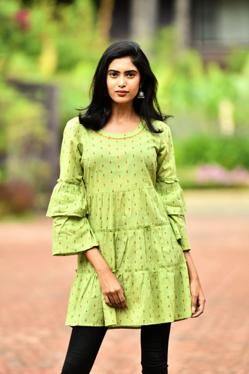 Aaboli Double frill bell sleeve Dress