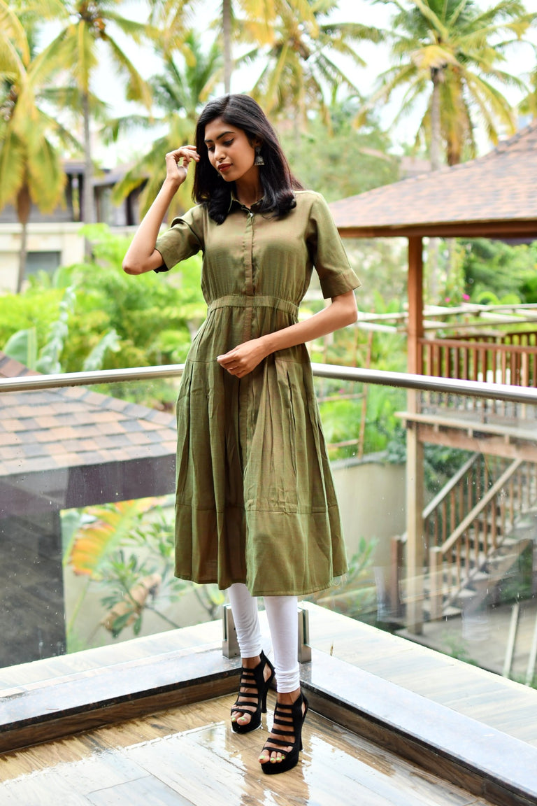Olive Green Half sleeve Dress
