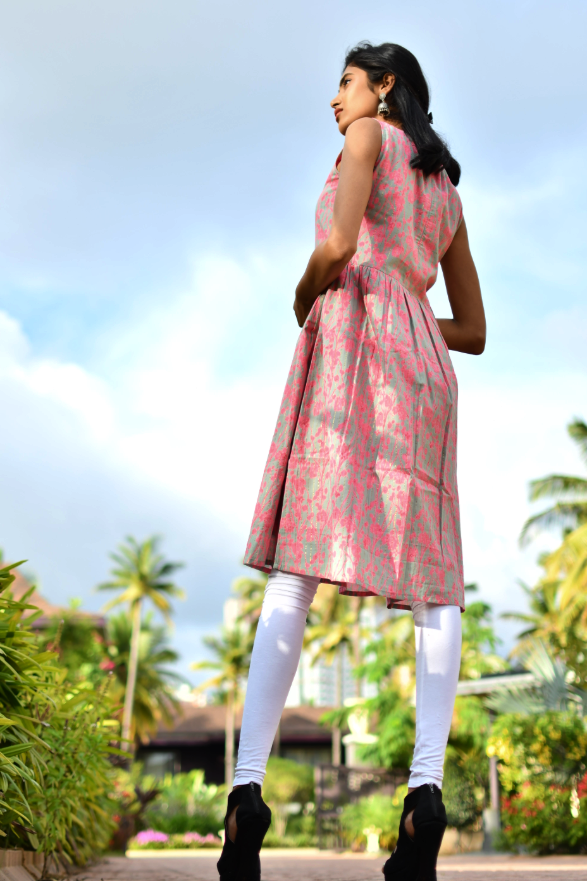 Aaboli Pink Printed Dress