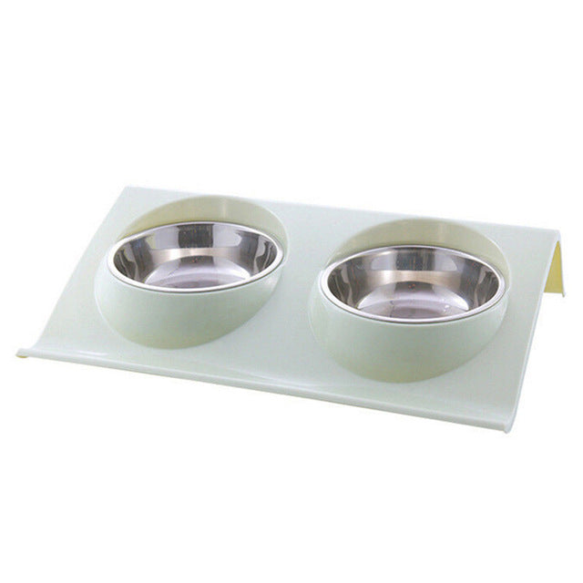 Stainless Steel Dog Food Double Bowl