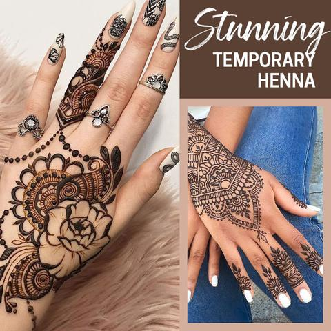 Easy Henna Tattoo Ink With Stencils Set
