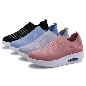Women's Mesh Cushioned Slip On Platform Casual Sock Shoes