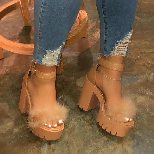 2020 New Summer Chunky Heel Line-Style Buckle Ankle Strap Platform Sandals