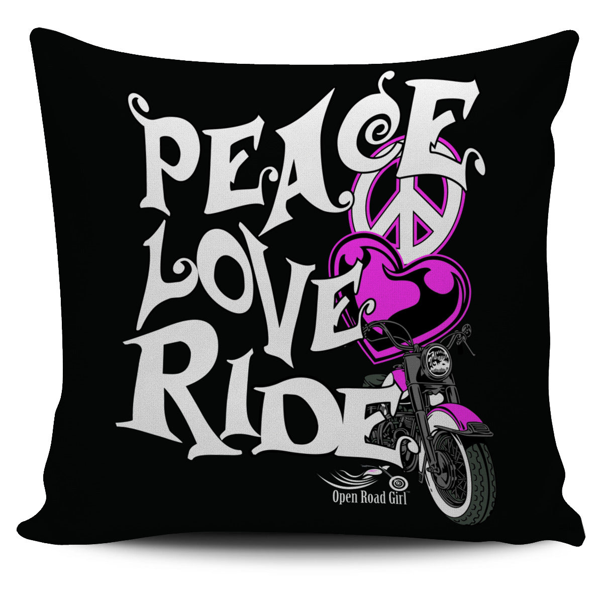 Pink Peace Love Ride Pillow Cover
