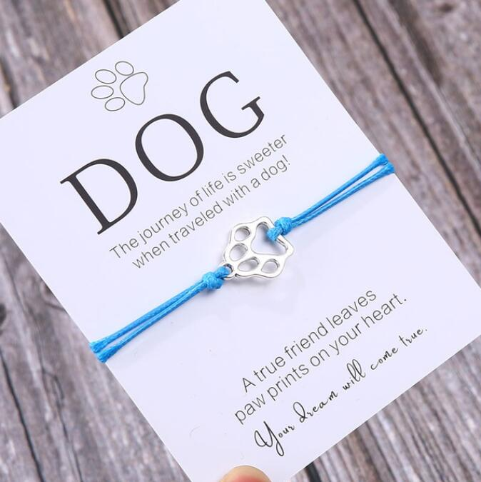 Friendship Bracelet Gift for Him Paw Print Bracelet Dog Lover Gift Dog Lover Jewelry Wish Bracelet Gift for Pet Dog Parents