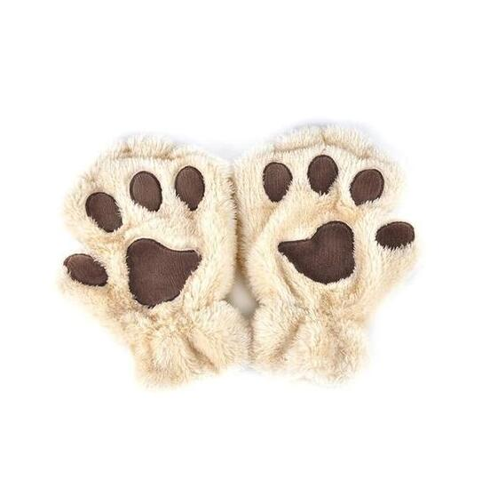 Winter Lovely Half Cover Paw Bear Cat Claw Gloves Short Finger