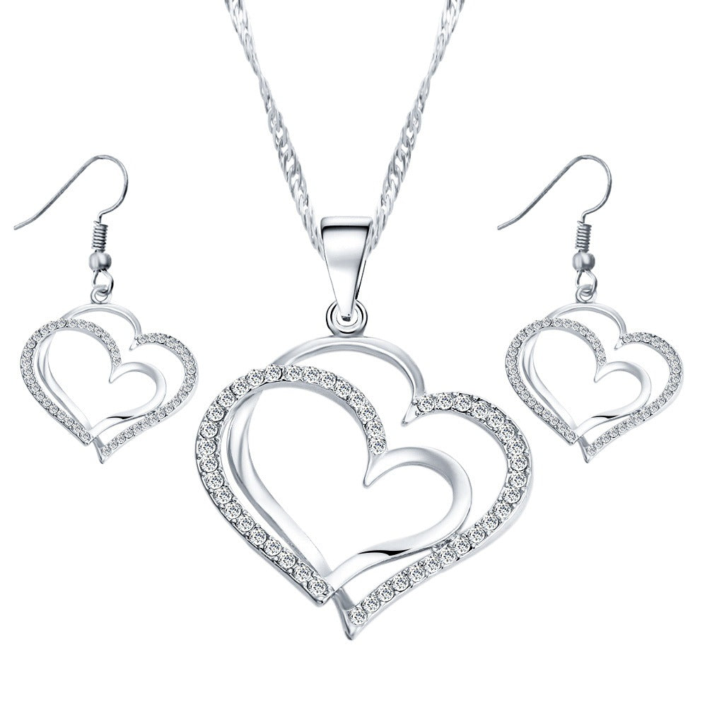 Romantic Heart Shaped Crystal Earrings Necklace Set