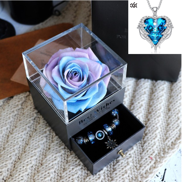 Valentines Day Gift Women Rose Jewelry Box Dried Flower Real Flowers Eternal Roses In Box