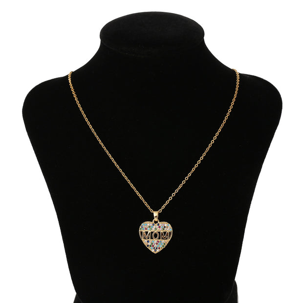 Fashion Colorful Mom Cubic Zirconia Heart Necklace Pendant Decoration