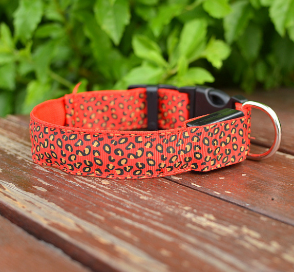 LED Dog Collar Safety Adjustable Nylon Leopard Pet Collar