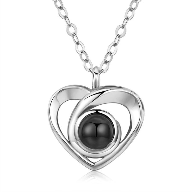 S925 silver love heart projection photo necklace