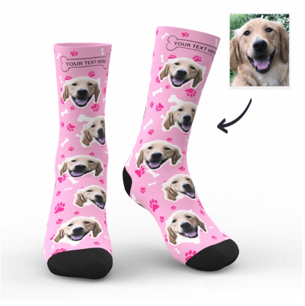 Personalized Custom Pet Head Print Socks for Dog Cat Lover