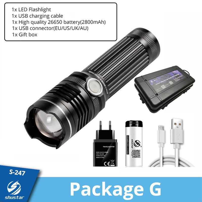 Rechargeable LED Flashlight With 4 Core P50