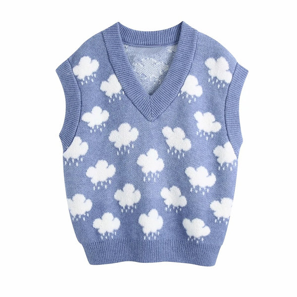 2021 spring jacquard knitted vest sweater cloud pattern knitwear sweater