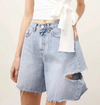 distressed denim demi pants frayed hem washed jeans high waist loose fit