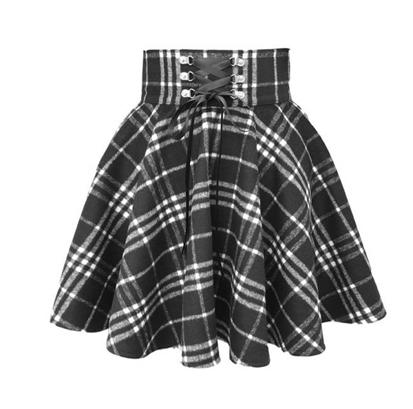 Lace Up Plaid Pleated Skirt High Waist A-line Swing Skater Mini Skirt Pettiskirt 9311