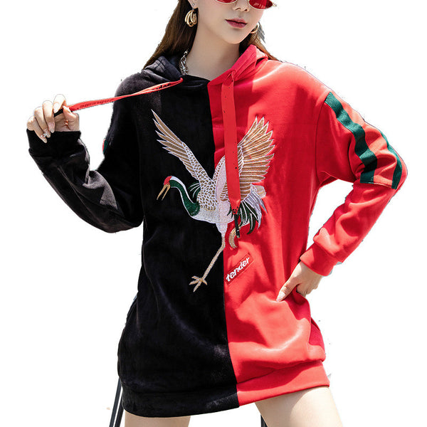 2021 golden velvet sweater embroidered hooded pullover sweatshirt Korean fashion jacket cardigan with Crane