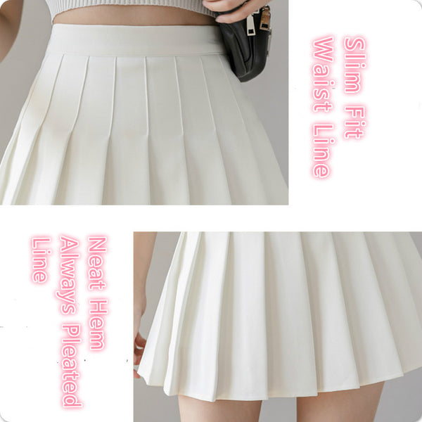 All Season Anti-wrinkle Pleated Short Skirt female summer Kpop version High Waist A-line College Style Plus Size