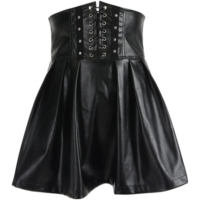 street fashion faux leather high waist girdle lace up skater zipper dark gothic pleated A-line skirt