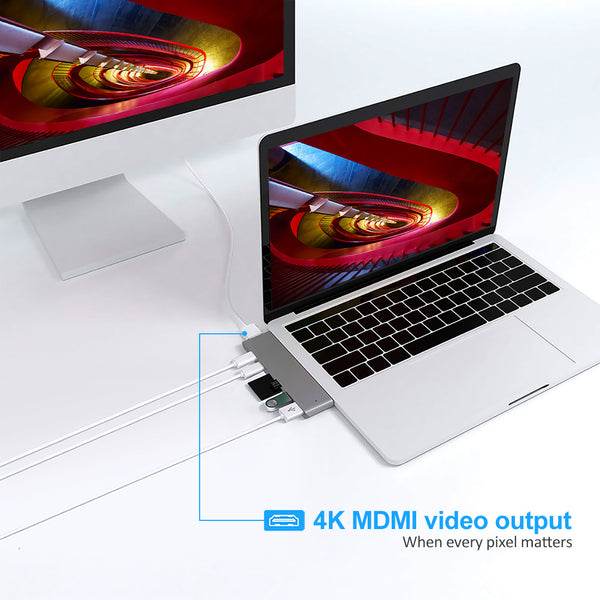 7 in 1 USB 3.1 Type-C Hub to HDMI Adapter 4K Thunderbolt 3 USB C Hub with TF/SD Reader Slot PD for MacBook Pro/Air Dock