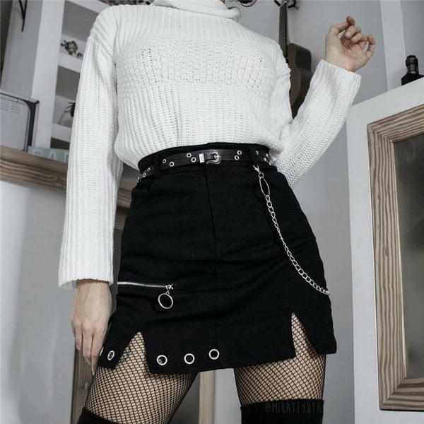 2021 sexy dark gothic ring chain split A-line skirt zipper cosplay chic streetwear